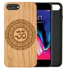 Om  Mandala Natural Carved Wooden Phone Case for IPHONE SAMSUNG HUAWEI PIXEL