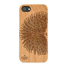 Peacock Spread Natural Carved Wooden Phone Case for IPHONE SAMSUNG HUAWEI PIXEL