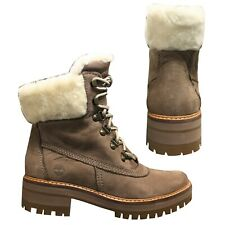 Timberland Courmayeur Valley Shearling Womens Lace Up Boots Taupe A1SA8 T4I