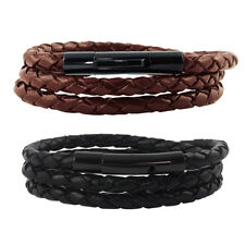 Leather Necklace Bracelet 4 - 6 mm Lever Closure/Black/Brown Braided New