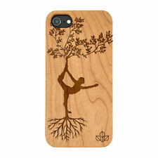 Tree Pose Natural Carved Wooden Phone Case for IPHONE SAMSUNG HUAWEI PIXEL