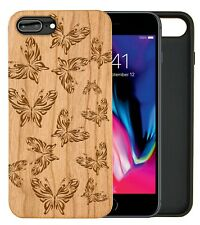 Tribal Butterflies Natural Carved Wooden Phone Case IPHONE SAMSUNG HUAWEI PIXEL