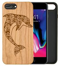 Leaping Dolphin Natural Carved Wooden Phone Case IPHONE SAMSUNG HUAWEI PIXEL