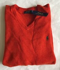 $98 NWT Mens Polo Ralph Lauren Orange V-Neck Lambs Wool Sweater Italian Yarn M L