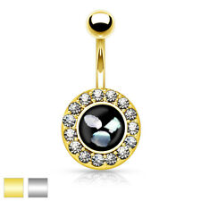Surgical Steel Belly round Pendant with Cubic Zirconia