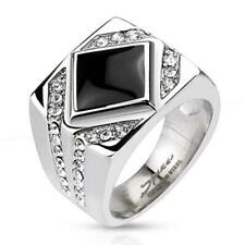 Unisex Ring Stainless Steel Steel Onyx with Clear Zirconia