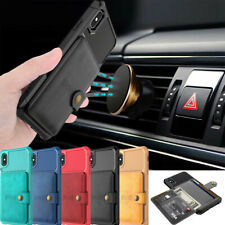 For iPhone XS Max X 7 8 Magnetic Leather Wallet Card Car Holder Stand Case Cover