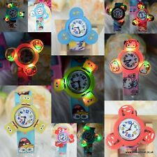 kids silicon LED Spin slap on snap pop up wrist watch cartoon watches bracelet