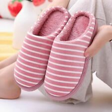 Women's Slippers Winter Plus Size 43-45 Striped Warm Fur Indoor shoes for Ladies