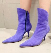 Occident Women's Ankle Boots Suede Pointed Toe Stiletto Mid Heel Zip Shoes Court