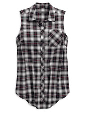 Genuine Harley Davidson Women's Distressed HDMC Sleeveless Plaid Woven Shirt