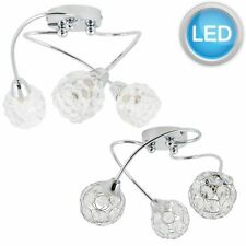 MODERN CHROME 3 LIGHT SPIRAL CEILING FITTING JEWELLED OR BUBBLE SHADES LED Bulb