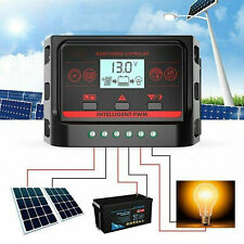 LCD 10A/20A/30A Solar Panel Regulator Charge Controller 12V/24V Two USB
