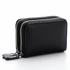 Leather Credit Card Wallet ID Case Holder Double Layer RFID Blocking Small Purse