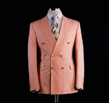 Men Wedding Suits Double Breasted Peak Lapel Coat Peach Groomsmen Groom Tuxedos