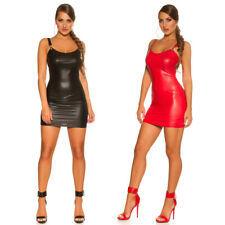 KouCla Leather Look Mini Dress Square Neck With Belt /& Full Front Zip Black Red