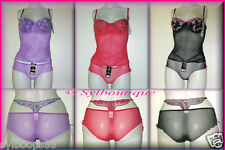 Ensemble Top avec SG Armature incorporé + Shorty Sexy Assorti: Violet/Rouge/Noir