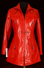 Vanessa Red Ladies Women's New Stylish Long Real Cow Hide Glazed Leather Jacket