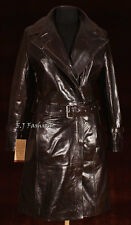 CHELSEA Brown Ladies Women's Long Smart Real Cow Hide Leather Jacket Trench Coat