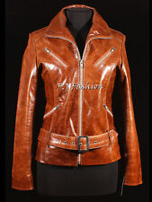 Rock Tan Ladies Women's Short Retro Vintage Real Cow Hide Glaze Leather Jacket