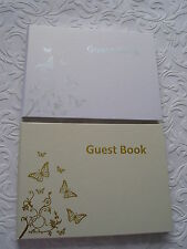 WEDDING GUEST BOOK BUTTERFLY - WHITE WITH SILVER TEXT / CREAM WITH GOLD TEXT