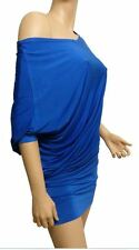 New Off/One Shoulder Batwing  Dress Top Size 10 - 20 (Royal Blue)