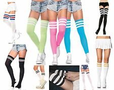 WOMENS SPORTS ATHLETIC CHEERLEADER TUBE STRIPED OVER THE KNEE THIGH HIGH SOCKS