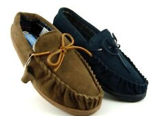 MENS MOCCASIN LEATHER UPPER SUEDE SLIPPER BROWN & BLUE SIZE UK 7-11 BNIB