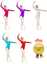 Ladies Long Sleeved Nylon Lycra Dance Leotard. UK sizes 8,10,12,14,16 Ballet Tap