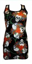 RED & PURPLE ROSES SKULLS TATTOO FLORAL PRINT LONG VEST TANK TOP GOTH PUNK EMO