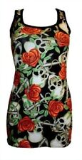 UNIQUE HEART ROSE SKULL ANCHOR TATTOO PRINT LONG VEST TANK TOP GOTHIC PUNK EMO
