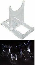 new set of 3 clear perspex collectors display stands for rocks gems fossils etc