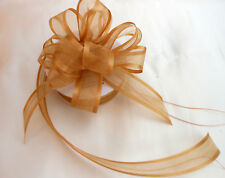 Pull Bow Ribbon Gold Satin Edge Organza 25mm wide  5, 10 and 20 Metres