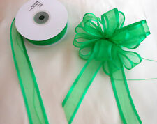 Pull Bow Ribbon Emerald Green Satin Edge Organza 25mm wide  5, 10 and 20 Metres