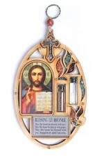 Jesus Maria Icon Cross Christ Home Blessing Wood Wall Hanging House Warming Gift