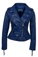 'CLASSIC BRANDO'Ladies Leather Jacket Blue Classic Biker Style REAL LEATHER MBF