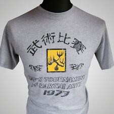 Enter the Dragon Hans Tournament Retro Movie T Shirt Bruce Lee MMA Grey Kung Fu