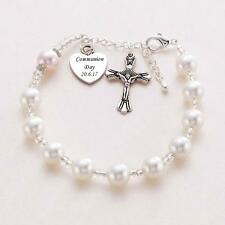 Single Decade Rosary Bracelet with Engraving, First Holy Communion Gift for Girl