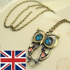 VARIETY OF VINTAGE  OWL PENDANT LONG CHAIN NECKLACE UK FAST DELIVERY