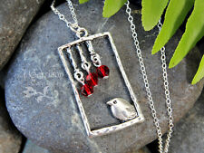 Summer Bird Necklace- sterling silver chain, red crystal fruits, whimsical charm