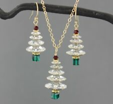 Sparkly Crystal Christmas Tree Gold Necklace and Earring set -clear white trees