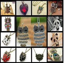 VINTAGE OWL PENDANT LONG CHAIN NECKLACE LOTS OF DIFFEREN VARIETY FAST DELIVERY