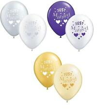 "JUST MARRIED WEDDING DECORATION BALLOONS 12""  PICK YOUR COLOUR & PACK SIZE"