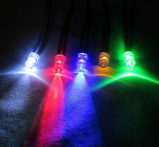 12V DC 5mm Pre Wired Constant or Flashing LEDs All Colours + Black Bezel Holder