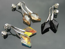 Rhombus JET GSH Crystal AB 14mm 925 SILVER EARRINGS made with SWAROVSKI ELEMENTS