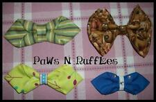 FABRIC BOW TIES FOR YOUR MALE DOGS COLLAR BLUE GREEN BROWN RETRO PIK1 DAPPER DOG