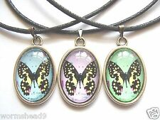 Vintage style butterfly resin cabochon oval pendant necklace – choose colour