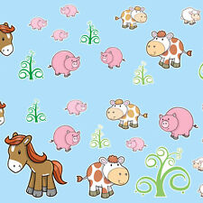 CUTE FARM ANIMALS bedroom WALL STICKERS horse pony sheep pig cow goat chick tree