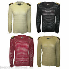 New Womens Studded Shoulder Ladies Knitted Oversized Baggy Jumper Top Size 8-14