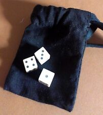 Hazard Dice Game Set; 3 dice in pouch with historic rules to the game of Hazard